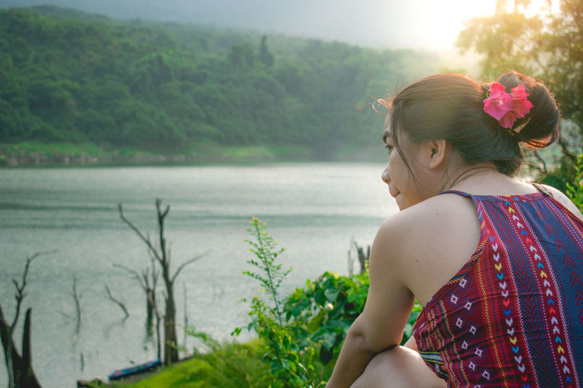 Portait Adult Morning Light Rear View River View Sky And Clouds Trees Beautiful Woman Beauty In Nature Hair Bun Outdoors People Relaxing Time Sky Water
