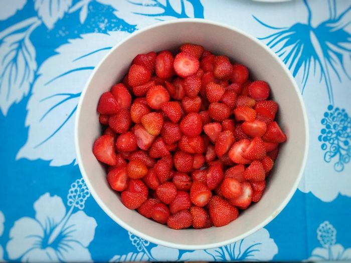 Fruit Bowl full of Strawberries Fruit Saladon a Blue and White Tablecloth Summer Food Foodie Vegetarian Food Healthy Food