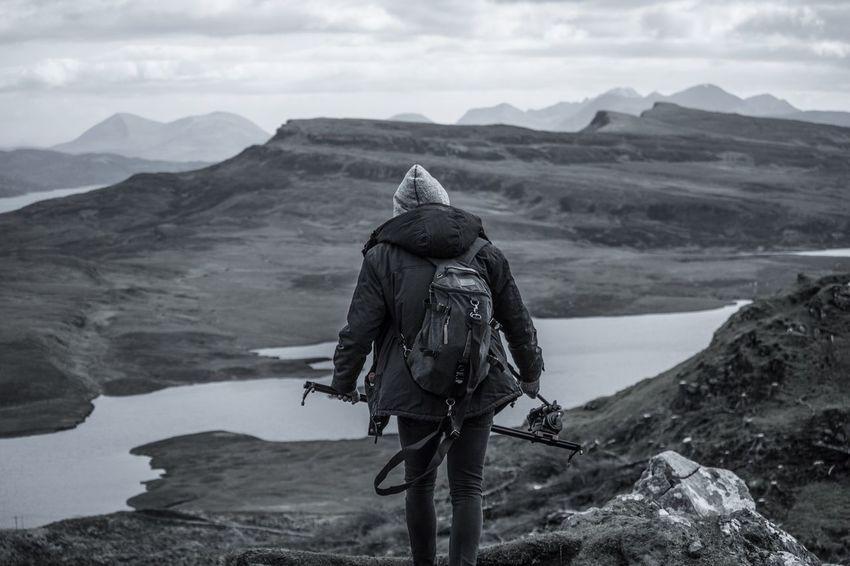 At the Old Man Of Storr Mountain Adventure Skye Scotland Scottish Landscape Hiking Scenics Filmmaking Nature Photography Blackandwhite Outdoors First Eyeem Photo The Great Outdoors - 2017 EyeEm Awards BYOPaper! EyeEmNewHere