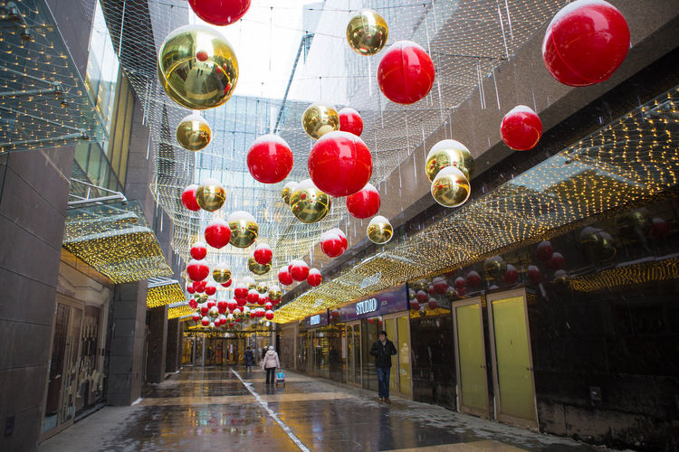 rainy but happy way to the mall :) Bubble Colorful Decoration Hanging Illuminated Large Group Of Objects Rain Sphere