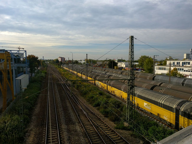 From lilienthal Bridge Train Train Yard Dusk In The City Cityscape Oneplus3T Streetphotography Cloud - Sky Outdoors Railroad Track Day Sky No People
