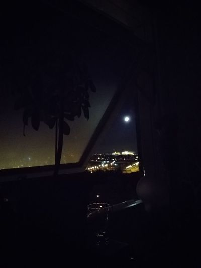 Moon is shining in between my window Shining Moon Cosey Peace And Quiet Late Night Picture In Between Window Plant Part Glass Relax Sweden Happiness Weekend ♥ Water Illuminated City Sky