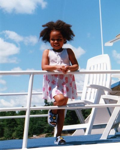 Happy passenger! Boating Life Cheerful Happiness Leisure Activity Lifestyles On The Way For Ice Cream Railing Smiling