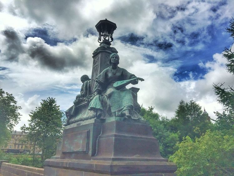 Statue Sculpture Human Representation Cloud - Sky Sky Low Angle View Art And Craft Female Likeness Day Outdoors Tree No People Travel Destinations Architecture Eyeem Scotland  Eye Em Scotland Scotland GLASGOW CITY Kelvingrove Park History Clouds And Sky Low Angle View Architecture Art And Craft Park - Man Made Space