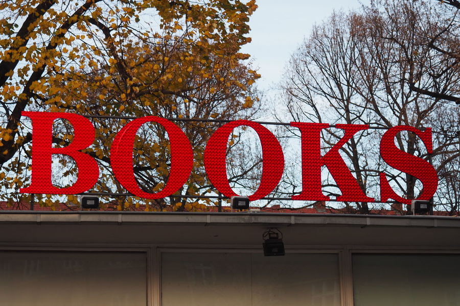 Books Design Information Low Angle View Red Shop Sign Sign Text