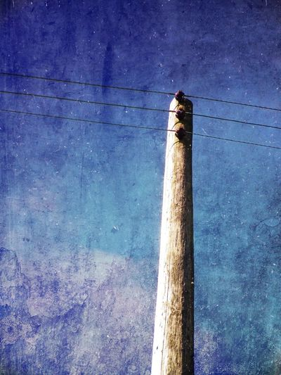 Telegraph pole Blue Cables Lines Outdoors Pole Power Sky Telegraph