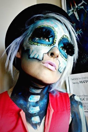 Self Portrait Selfportrait Facepaint Skull Halloween Skullmakeup Skull Makeup