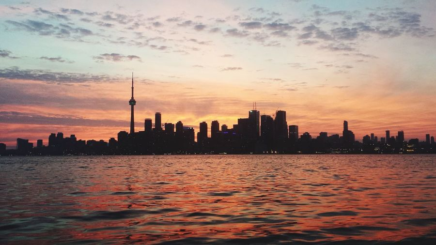 Toronto Sunset Skyscraper Skyline City River Water Cloud - Sky Reflection Travel Destinations Tower Cloud Sun Urban Skyline Sunlight Cityscape Building Exterior Tranquility Sunset_collection