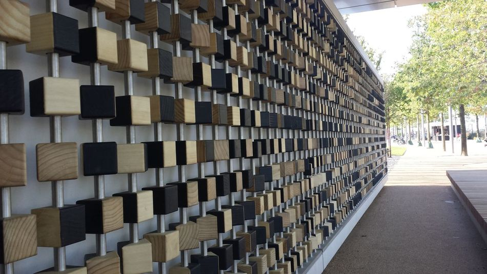 Interactive  Art Wall made of Wood blocks