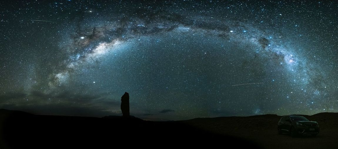 A panorama of milky way above Salar de Tara Star - Space Space Night Astronomy Sky Galaxy Nature Space And Astronomy Landscape Environment Science Constellation Outdoors Star Field Tranquility Land Scenics - Nature Beauty In Nature Silhouette Star