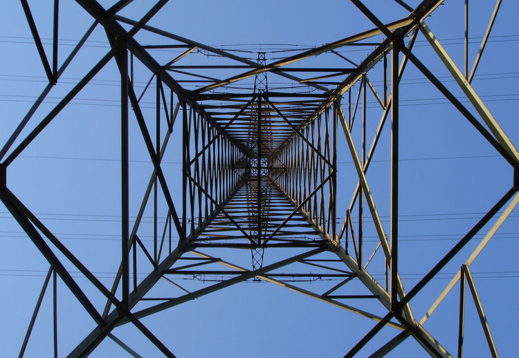 Directly below shot of electricity pylon against clear blue sky