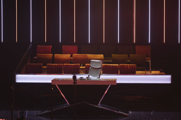 TV show set Auditorium Chair Hanging Out Indoors  Judge Jurry No People Office Chair Seat Set Show Tv Show