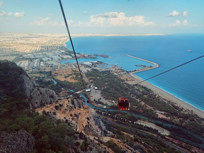 High angle view of overhead cable car over sea against sky