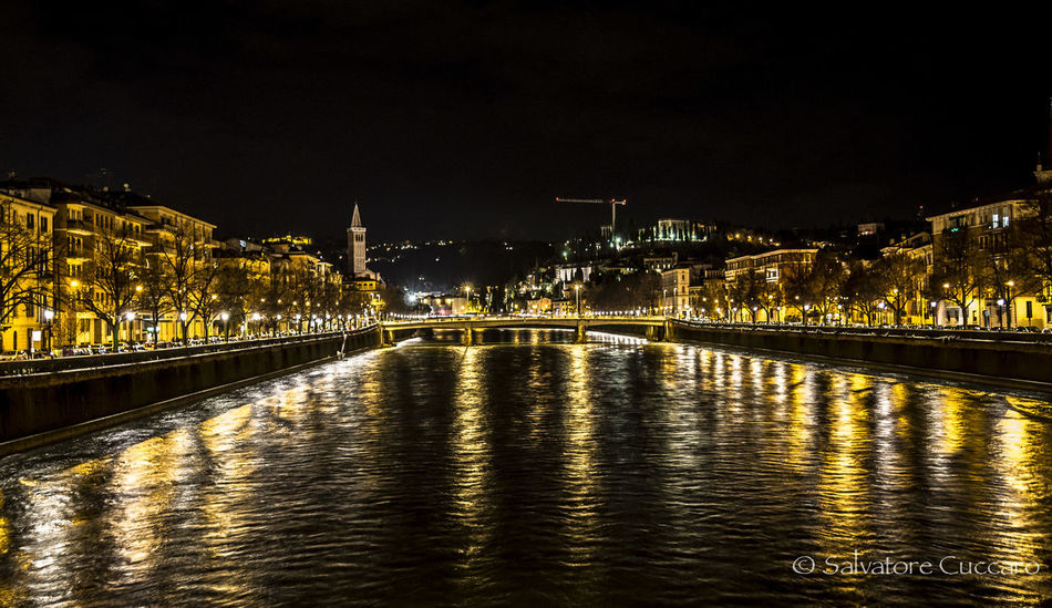 Architecture Built Structure Canal City City Life Gold Lights Illuminated Light Night No People Outdoors Reflection River Sky Travel Destinations Verona Verona Italy Water Waterfront