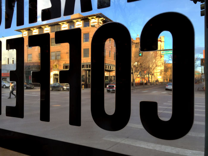"""""""COFFE"""" sign cafe window in Denver, Colorado Architecture Built Structure City City Life Coffee Coffee Shop Colorado Day Denver Indoors  Letters No People Store Street Streetphotography Urban"""