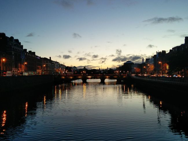 My Favorite Place Dublin Oneplusphotograpgy Onepluslife Oneplus2 Oneplustwo Street Light Road Scenics Water Travel Tourism Outdoors Latenightwork Bridge Architecture Water Architecture Built Structure Building Exterior Illuminated Waterfront City Connection Dusk