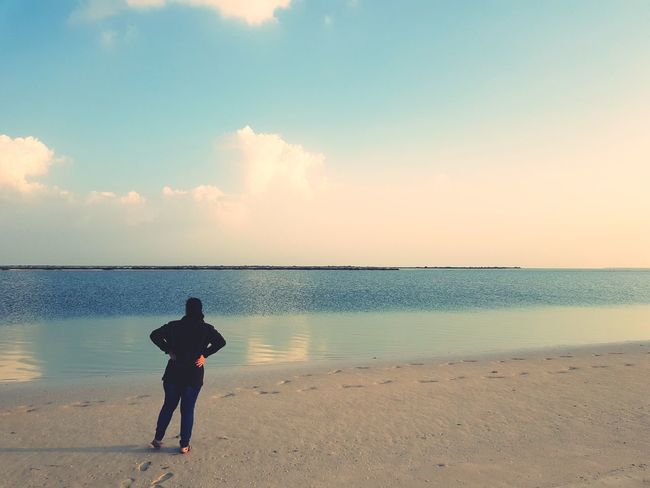 Lost In The Landscape Beach Sea Sky Adult Horizon Over Water Outdoors Water Reflection Cloud - Sky Rear View One Person