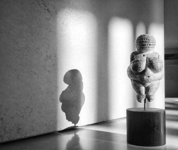 When the museum curator plays with his mobile device... Iceage Iceage Art Museum Archaeology EisZeitenHH Curator Human Representation Still Life Indoors  Table Figurine  No People Niche Day Blackandwhite