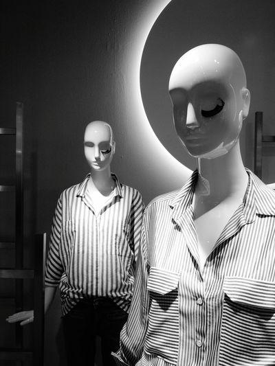 Mannequins with false eyelashes Mannequin Model Pose Black & White Blackandwhite Window Display Bald Girl