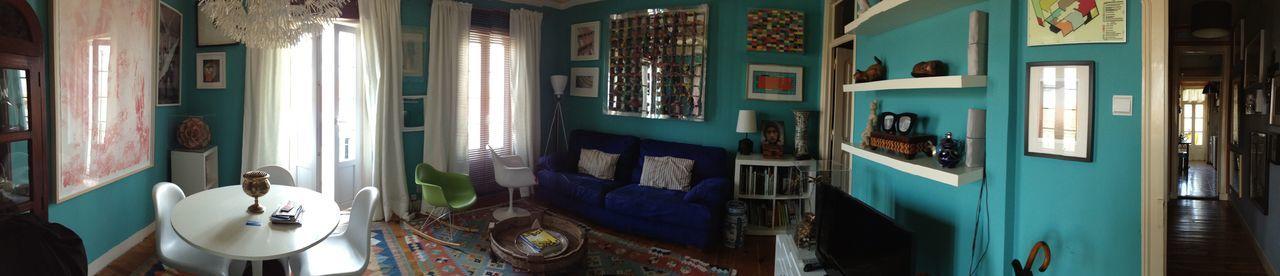 Lisbon house Art Decoration Eames Furniture Home House Kilim Living Room Saarinen Style Turquoise