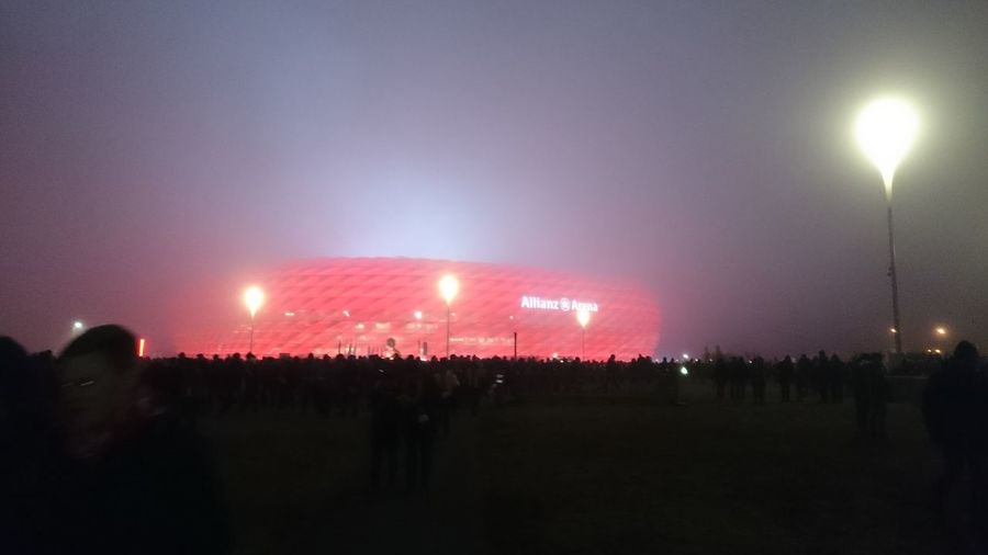 Night Dusty Stadium Allianz Arena Red Light Munich FCBAYERNMÜNCHEN FCB <3