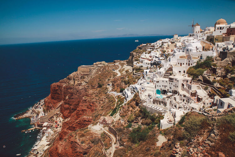 High Angle View Of Santorini And Sea Against Sky