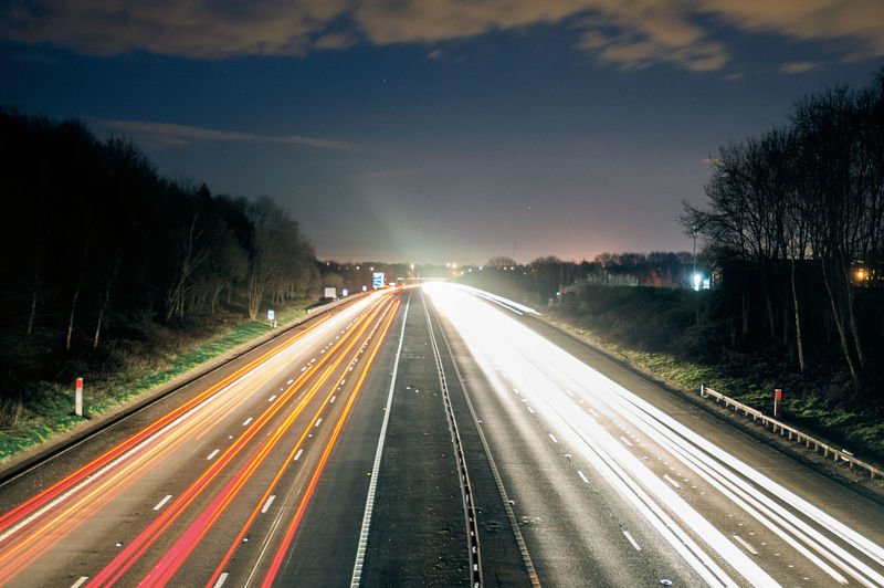Motorway Light Trails Cars Highway Illuminated Light Light Trail Light Trails Long Exposure Motion Motion Capture Motorway Night Outdoors Road Shutterspeed Sky Slow Shutter The Way Forward Traffic Trail