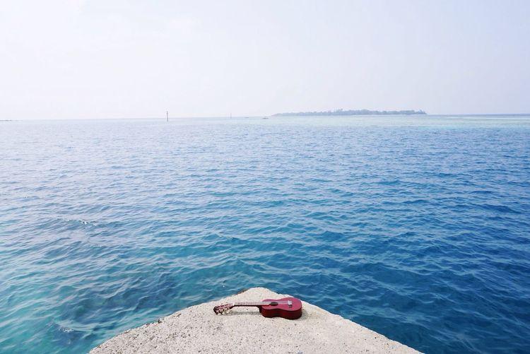 Abandoned acoustic guitar on the seashore
