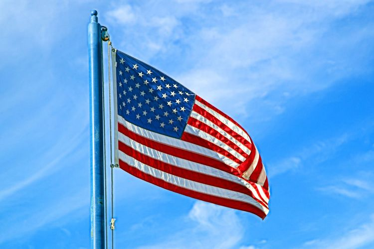 US Flag Cloud - Sky Flag Freedom Independence Low Angle View National Icon No People Outdoors Patriotism Pole Sky Star Shape Stars And Stripes Starspangledbanner Waving Wind