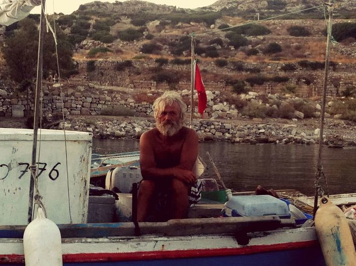 Fisherman Old Man Boat Loneliness On The Sea Bodrum, Turkey a.k.a Heredot People Photography