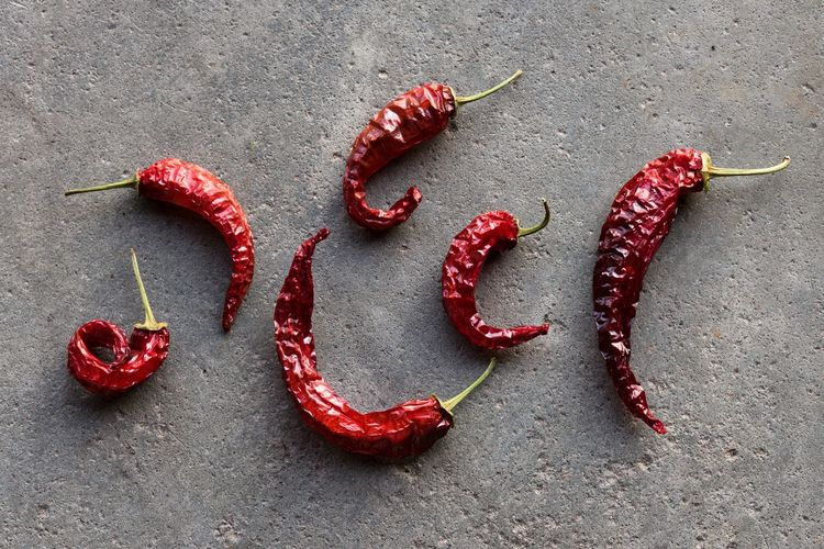 High Angle View Of Dry Red Chili Pepper