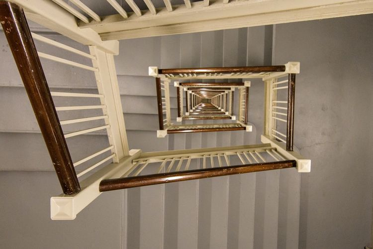 High Angle View Of Spiral Staircase At Home