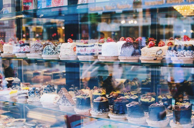 Sweet food on display at store