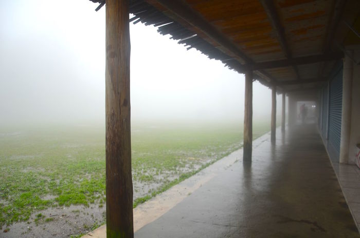 Absence Architecture Built Structure Corridor Empty Foggy Food Lonely Tranquility Wood Pole