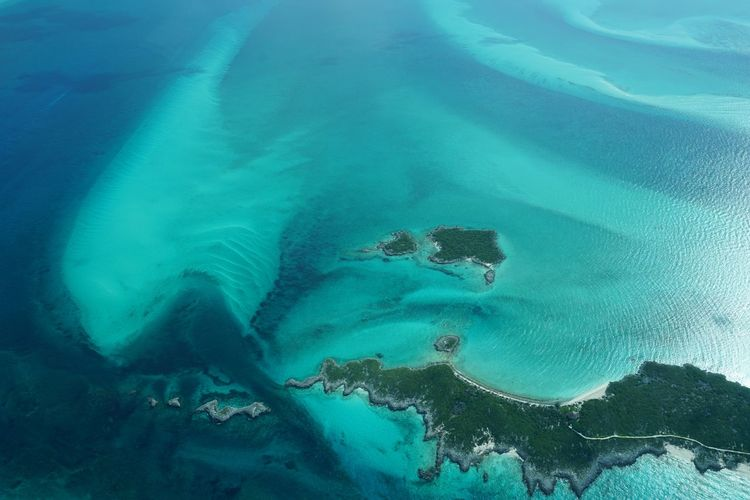 The northern Exumas-Bahamas Aerial Shot Bahamas Outdoors Water Ocean View Blue Seascape Sea High Angle View Aerial View Island Nature