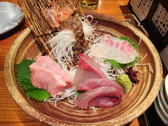 これ以外にもたくさん食べた⭐︎ 刺身大好き! 刺身 魚 海老 はまち 中トロ 荒磯水産 大阪 梅田 海鮮 OSAKA