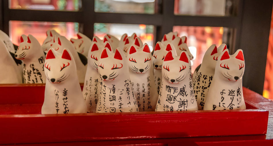 """Lucky Charms"" - Cat figures with wishes Japan Japanese  Japanese Culture Shrine Talisman Animal Representation Arrangement Beliefs Buddhism Cat Cat Figure Focus On Foreground Good Fortune In A Row Indoors  Lucky Charms Make A Wish No People Red Representation Shinto Temple Tourism Travel Destinations Wish"