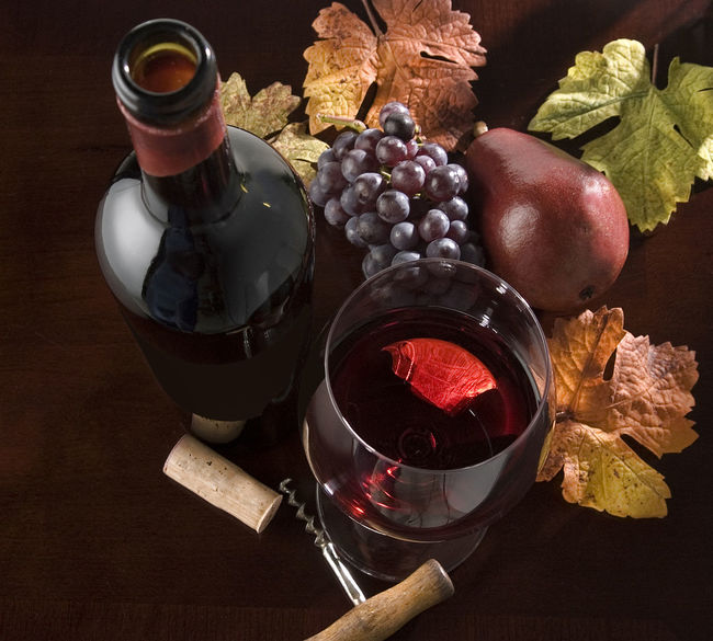 Wine still life Alcoholic Drink Bottle Cork Corkscrew Food And Drink Grapes 🍇 Leaves Looking Down From Above No People Pear Still Life Photography Studio Photography Table Wine Wine Glass