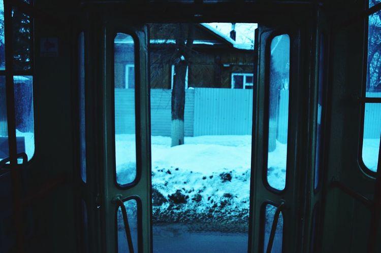 Трамвай  атмосфера Люди People Window Transportation Mode Of Transport Winter Lifestyles Atmospheric Mood Atmosphere