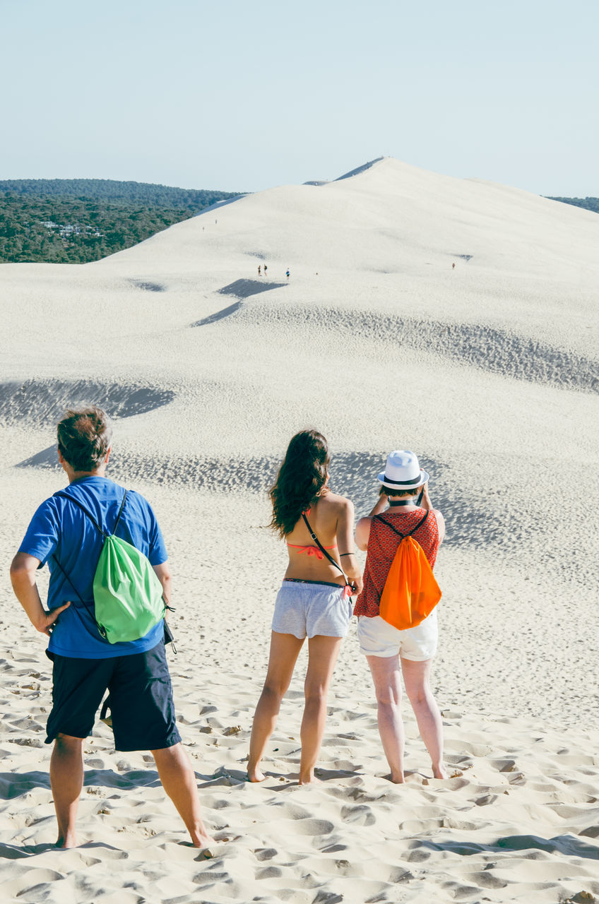 Rear View Of Friends Looking At Sand Dune At Beach Against Sky