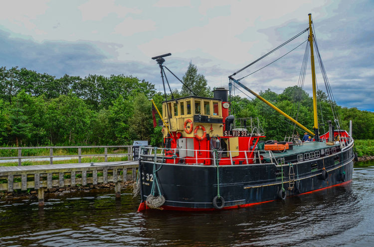 Tree Water Industry Outdoors Nature Caledonian Canal Loch Ness Fishing Boat