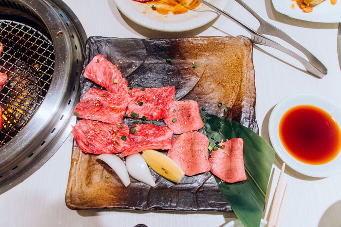 Beef Day Delicious Dinner Eating Food Food And Drink Freshness Healthy Eating High Angle View Indoors  Japanese Culture Mealtime Meat No People Plate Ready-to-eat Serving Size SLICE Table Taste Good Tasty Yakiniku Yakiniku Restaurant
