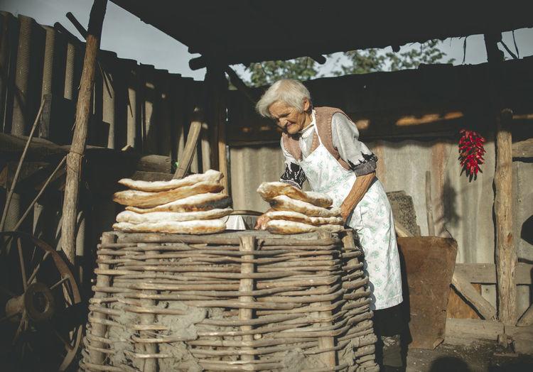 Man working in basket