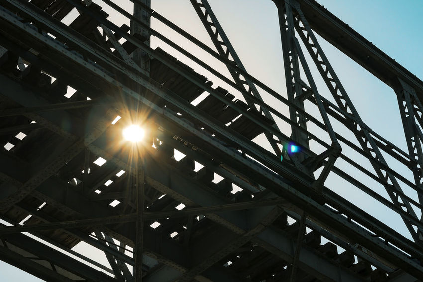 Alloy Architecture Bridge Bridge - Man Made Structure Bright Building Exterior Built Structure Clear Sky Connection Day Girder Lens Flare Low Angle View Metal Nature No People Outdoors Sky Steel Structure  Streaming Sun Sunbeam Sunlight Sunny