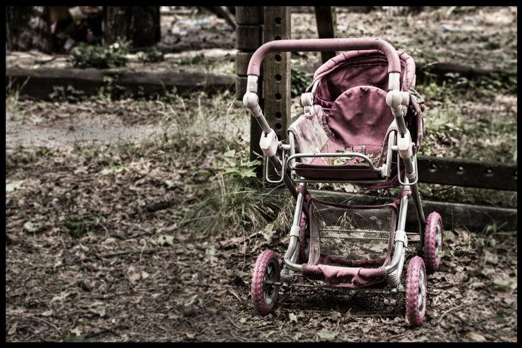 Close-up of abandoned cart