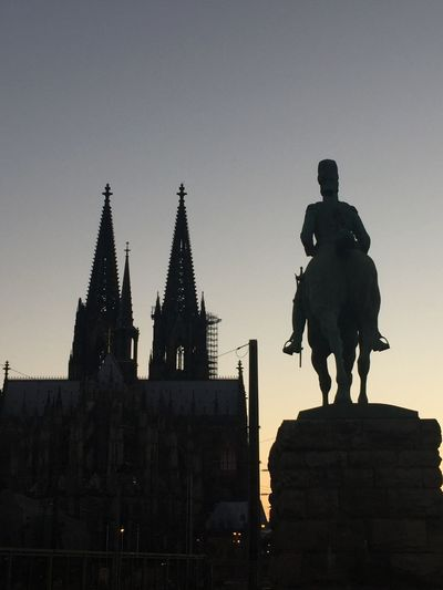 Silhouette of Cologne in Sunset Statue Built Structure Sculpture Architecture Silhouette Travel Destinations No People Sunset