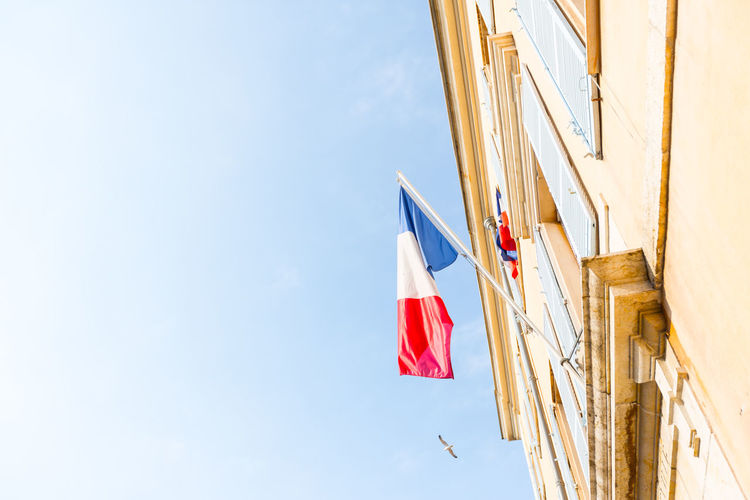 France Architecture Building Exterior Built Structure Cloud - Sky Day Flag Flags French Flag Low Angle View Nature No People Outdoors Patriotism Sky