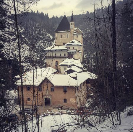 San romedio Santuario San Romedio Trentino  Italy Building Exterior Architecture Built Structure Building Tree Snow Cold Temperature Winter Nature Plant No People House Religion Day Place Of Worship Outdoors Belief Low Angle View Snowing EyeEmNewHere