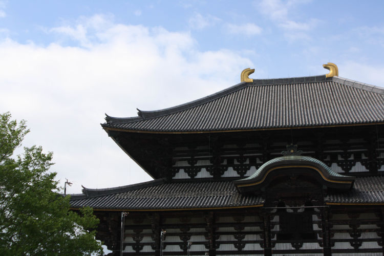 Low angle view of todai-ji against sky
