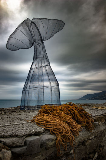 Cloud - Sky Sky Water Sea Nature No People Day Scenics - Nature Outdoors Non-urban Scene Land Rock Solid Rock - Object Fishing Net Sunset Tranquil Scene Beach Fishing Industry Liguria Camogli Sculpture 50 Ways Of Seeing: Gratitude